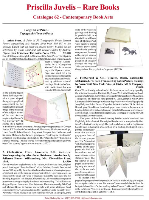 Catalogue 62 - Contemporary Book Arts