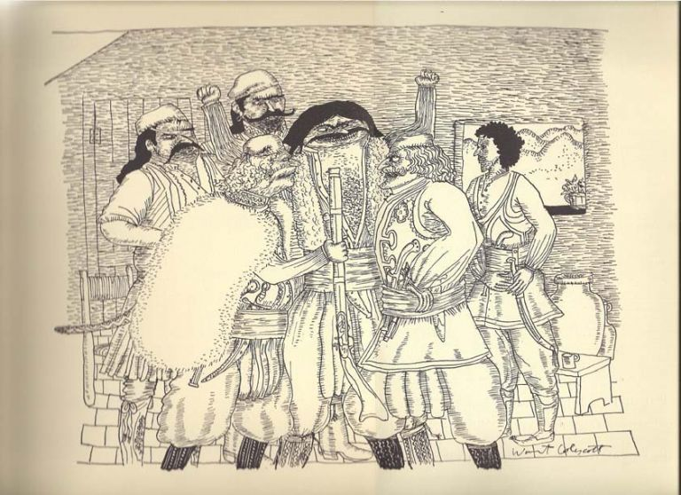 Chapter Seven from The Hour of the Bell, a novel concerning the Greek War of Independence. Illustrated by Warrington Colescott. Harry Mark Perishable Press. Petrakis.
