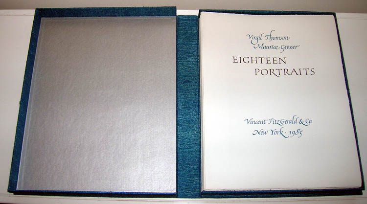 Eighteen Portraits. Original lithographs by Maurice Grosser. FitzGerald, Vincent. Thomson Co., Virgil.