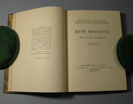 Feuilles tombees. Introduction by Charles du Bos. Rene Boylesve, pseud. of Rene Tradivaux.