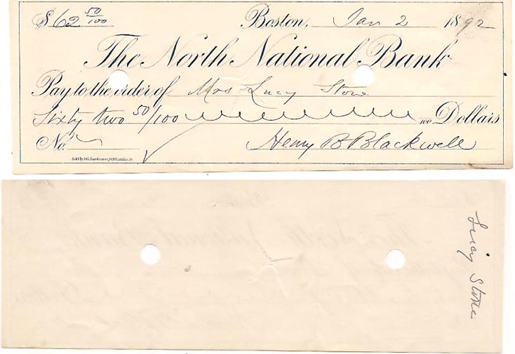 Canceled Check Payable to Lucy Stone. Lucy Stone, Henry Blackwell.