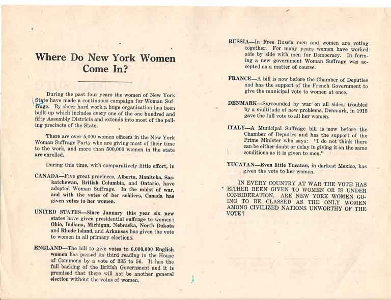 Suffrage as War Measure. New York State Woman Suffrage Party.