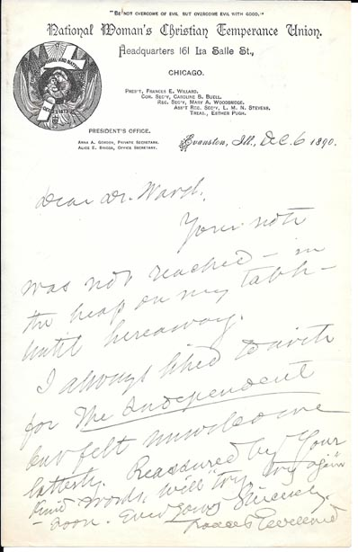 Autograph Letter Signed to Dr. Ward. Frances Willard.