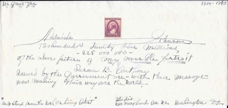 Johnson Autograph Sentiment on Anthony Stamp. Adelaide Johnson.