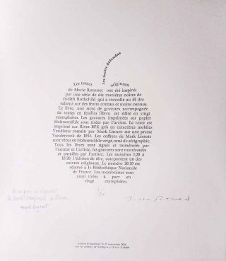 Les Fruits Defendus (Forbidden Fruit). Ten Essays by Marie Rouanet and Ten Mezzotints by Judith Rothchild. Marie Verdigris Press. Rouanet.