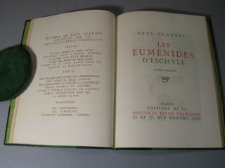 Eumenides d'Eschyle. Translated by Paul Claudel. Paul Claudel, Eschyle