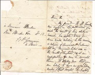 Autograph Letter Signed to M. Warden. Frances Wright