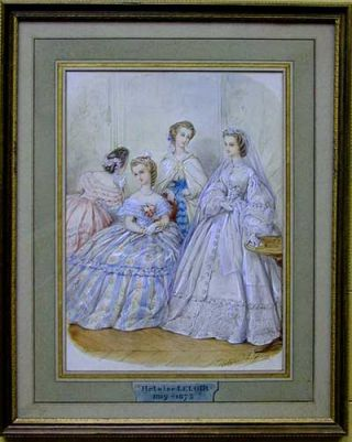 Fashion Design, watercolor and gouache, heightened in white pastel. Heloise. nee Colin Leloir.