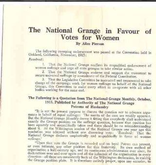 The National Grange in Favour of Votes for Women. National American Woman Suffrage Association, Alice Pierson.