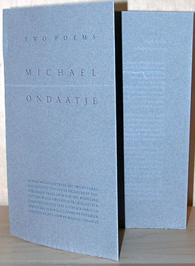 Two Poems. Michael Perishable Press. Ondaatje